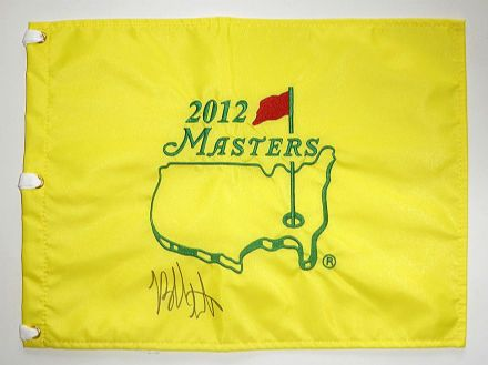 Bubba Watson signed Masters 2012 Augusta pin flag.